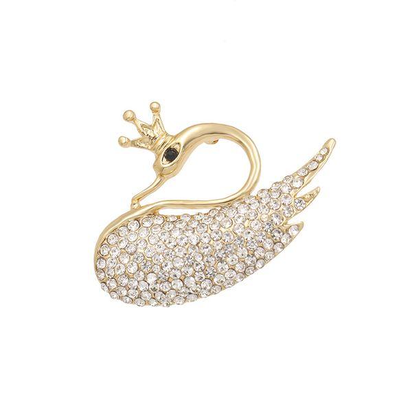 baiduqiandu Crystal Crown Swan Brooches For Women Elegant Pins Rhinestone Dress Corsage Party Clothing Jewelry Accessories
