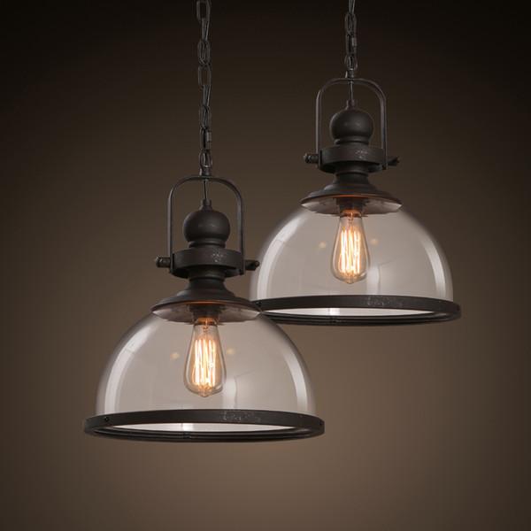 Loft Vintage Eisen Pendelleuchten Industrielle Dekor Hängelampe Für Esszimmer Küche Hause Leuchten Glas Lampenschirm