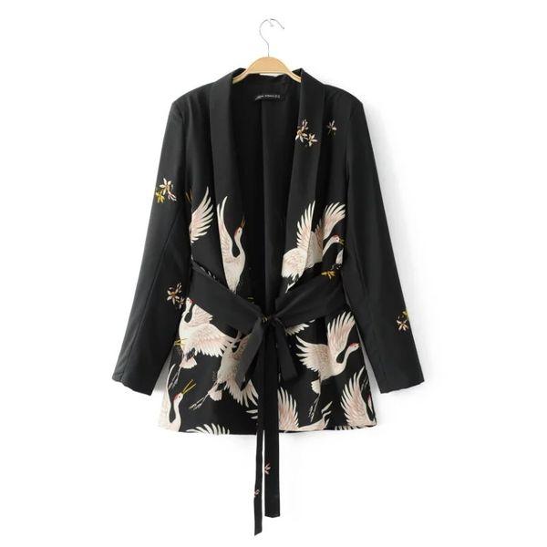 Moda Donna Red Crowned Crane Stampa Kimono Style Jacket Casual Manica lunga Cappotto Annodato cintura annodata Coppe larghe C215 C19041501