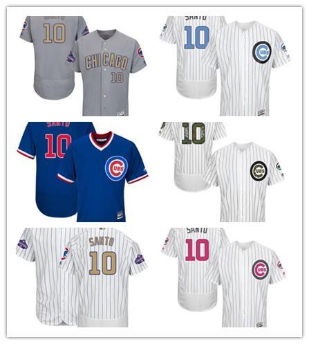 pode ser personalizado Chicago qualquer nome de qualquer número Juventude das mulheres dos homens 10 Ron Santo vermelho bule jérseis de basebol azul Cub