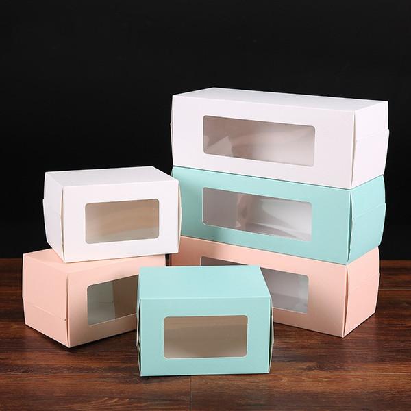 İsviçre Kek Rulo Ambalaj Kutusu Gıda Sınıfı Beyaz Karton Saf Renk Emniyet Pencere Çerez Kutuları Hediye Paketi Iç Destek Içeren 0 75psE1
