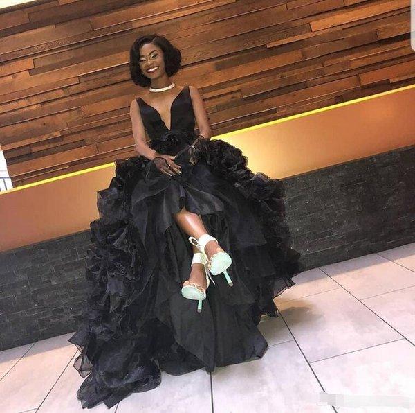 Черные одеяния из вечернего платья Русалка Платья с V-образным вырезом и оборками по пояс