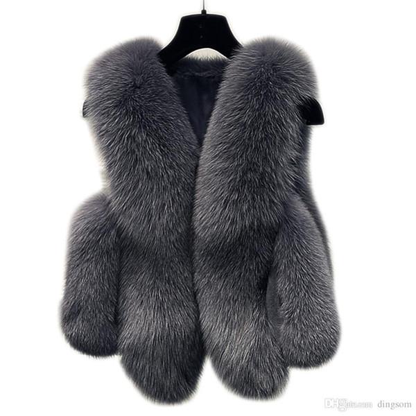 Winter Faux Fur Vest Women Jacket Coat Thick Warm Faux Fur Vest Outerwear Womens Fox Coat Female Plus Size 3XL