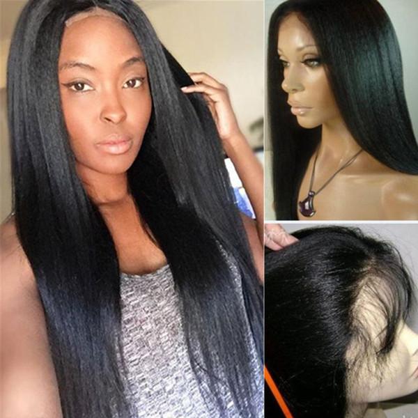 Yaki Droite 5x4.5 '' Soie Top Full Lace Perruques Perruques de cheveux humains non transformée brésilienne vierge en dentelle Avant de soie sans colle Top Lace Front perruques