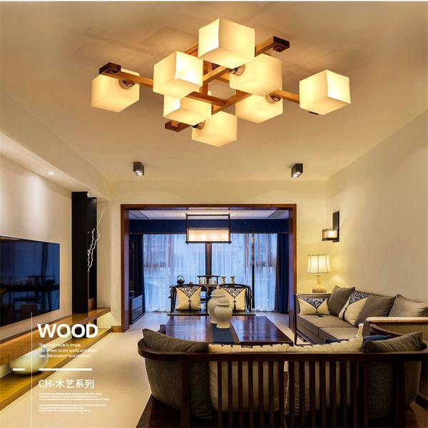 Nordic Wooden Ceiling Light Fixtures for Living Room LED Modern Bedroom Home Decoration Indoor Glass Lamp Shade Art Design - I141