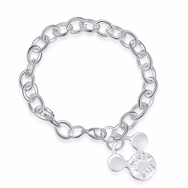 ERLUER Mickey Pendant Charm Bracelets For Women Girls Silver Plated Chain Link Mouse Head Engrave Letter Jewelry Bracelet Gifts