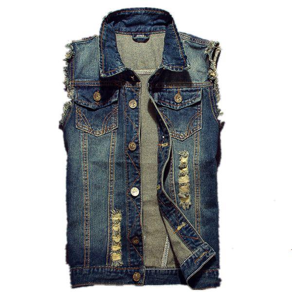 2019 Men Cowboy Brand Sleeveless Jacket Ripped Jean Jacket Men's Denim Vest Hip Hop Jean Coats Waistcoat Male Tank Plus Size 6XL