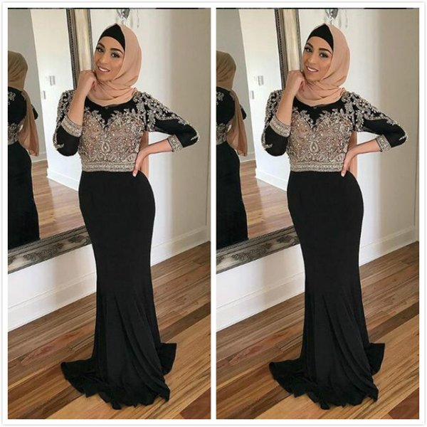Black Sexy 2019 Mermaid Muslim Prom Dresses Lace Beaded Long Sleeves Chiffon Evening Dresses Cheap Elegant Formal Party Bridesmaid Gowns