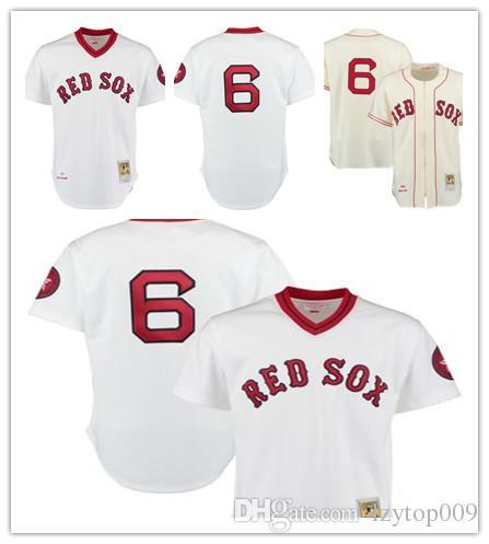 Men's 1975 Red Sox 6 Rico Petrocelli Mitchell & Ness White Authentic Throwback Boston Jersey