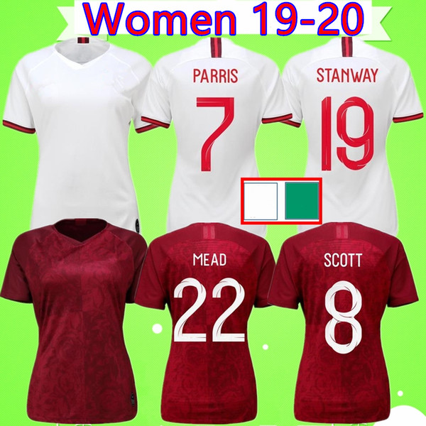 England World Cup Jersey 2020.2019 Women 2019 World Cup 19 20 Soccer Jerseys England Ladies Football Shirts Away Red Home White Girls Uniforms National Team Kane Sterling 2020 From