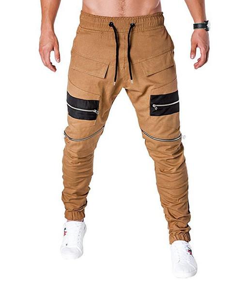 Multi-pocket zipper stitching men's leisure woven pants men's footwear overalls