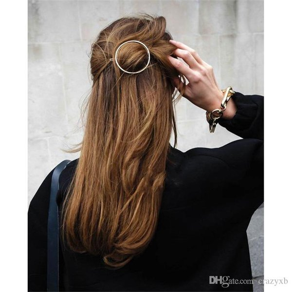 New Woman Hair Accessories Moon Circle Simply Roundness Alloy Hair Pin Clip Headdress Girls Fashion Hairgrips Barrettes 2017 New