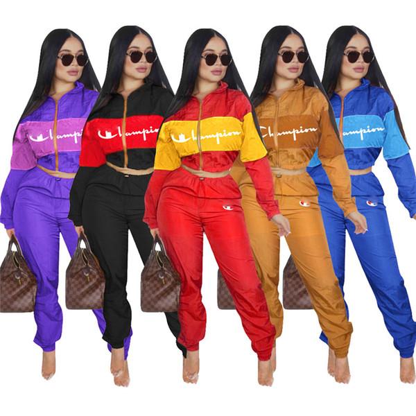 Kadın Eşofman Şampiyonu Mektup Baskı Uzun Kollu Mahsul En + Pantolon Tayt 2 ADET Set fermuar ceket Spor Giyim Suit kıyafet S-2XL