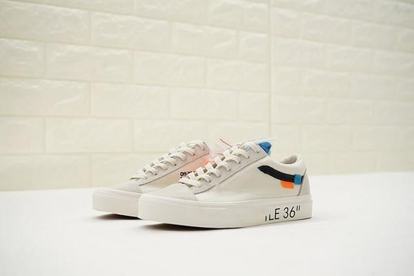 2019 OFF White x Vans Old Skool moda yüksek kalite 1.1 kristal alt tasarımcı Eski sookl bayanlar klasik kısa retro düşük kesim kanvas ayakkabılar Vault OG tarzı açık ayakkabı
