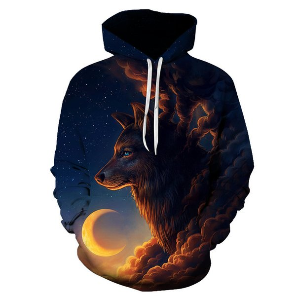 European and American Explosion 3D Wolf Print Hooded Pocket Men's Clothing Harajuku Streetwear Tracksuits Fashion Pullover Tops
