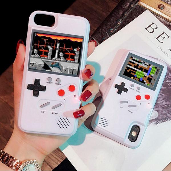 Tam renkli ekran klasik oyun telefon kılıfı iphone xs max xr x tpu için standı xs max oyun kılıfı için iphone 6 7 8 plus xs max xr.