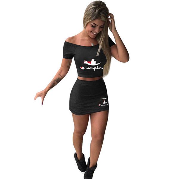New SummerChampions Brand Dress Suit Women Crop Top T shirt + mini Skirt tracksuit two Piece Outfits Summer Letters Print Casual Skirt Set