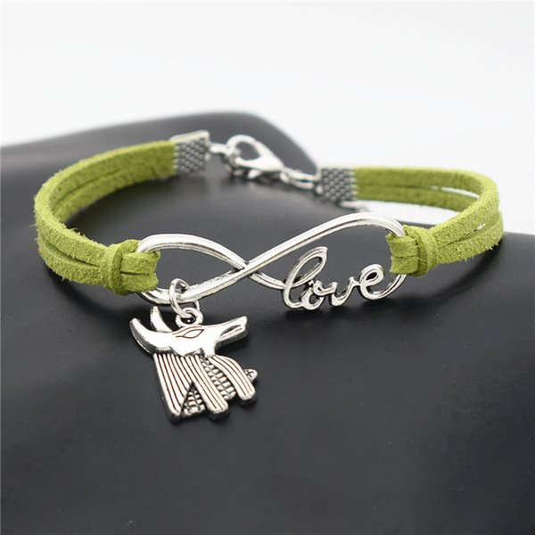 Ancient Silver Infinity Love Egypt Patron Horse Anubis Animal Wolf Bull Head Charm Cuff Bracelets for Women Men Green Leather Suede Jewelry