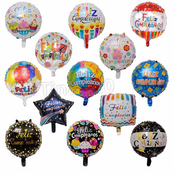 Novo filme de alumínio de 18 polegadas espanhol balão de festa de aniversário balão de festa de aniversário balão balão de brinquedo T2I5007