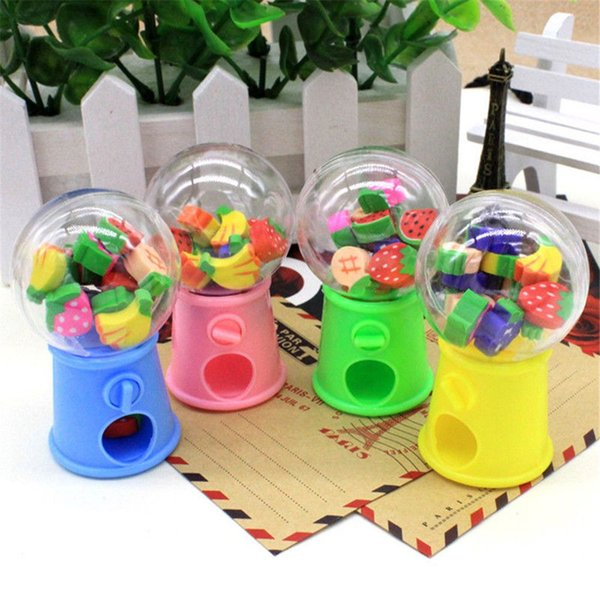 2019 1PCS Creative Cartoon Fruit Gashapon Eraser Machine Bank eraser Dispenser Stationery Office Christmas Gift para niños