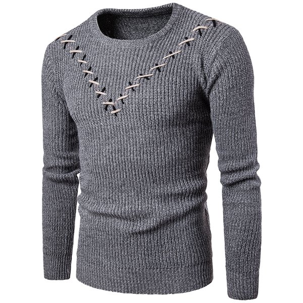 New Fashion men casual winter keep warm sweater O-neck pullovers Slim men's Cross combination V word sweaters clothes size S-XXL