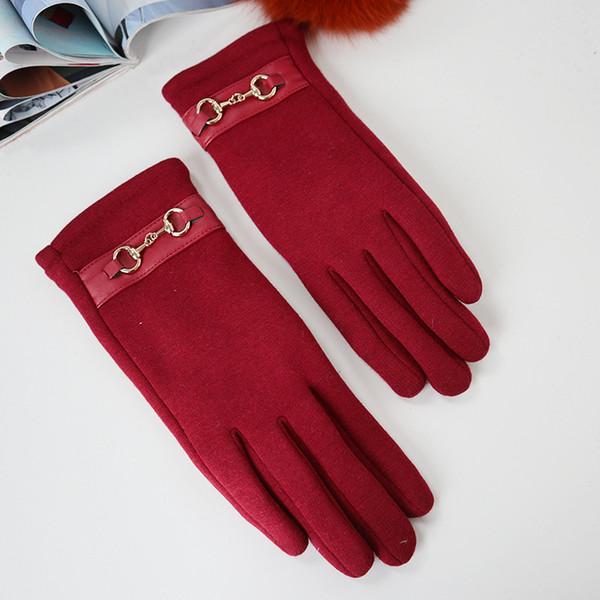 Mode-chaud gants écran tactile en tricot d'hiver élégante dame en plein air pleine conduite mitaines doigts épais usure confortable et souple
