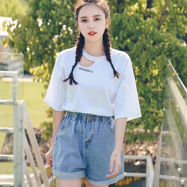 Wide Leg Jeans Shorts Women Summer Denim High Waist Elastic Waist Hot Short Pant Plus Size Casual For Girls Cuffs Loose Vintage
