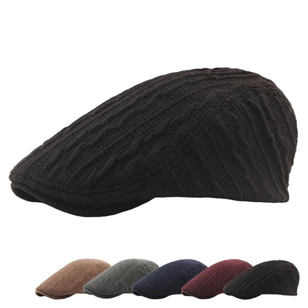 wool screw thread knitted hats berets autumn winter thickening warm flat cap men solid color flat hat fashion newsboy caps beret, Blue;gray