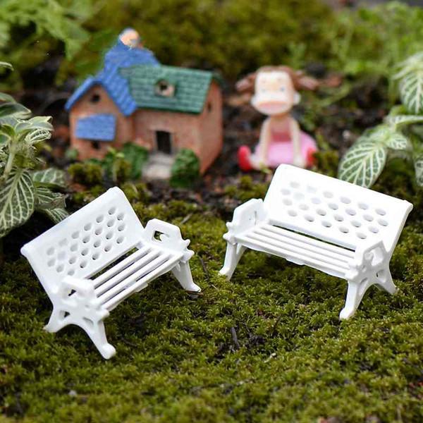 2019 Miniature White Beach Chair Park Bench Micro Landscape Moss Bottle Succulent Potted Plants Decor Ecological Props DIY Crafts Materials