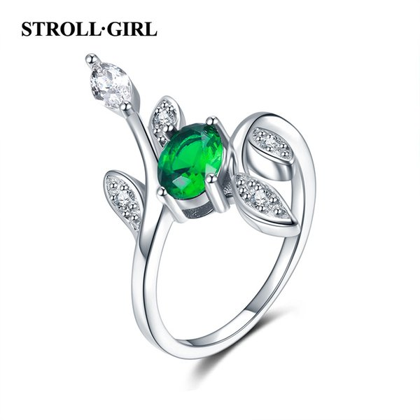 StrollGirl 925 Sterling Silver Spring Tree Leaves Green & White CZ adjustable Open Size Finger Rings for Women Fashion Jewelry