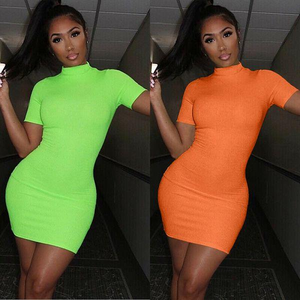Moda de verano caliente de las mujeres de fluorescencia Sundress Lady Color sólido Bodycon Mini vestido Clubwear manga corta cuello alto vestido de mujer