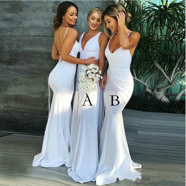 Seksi Gelinlik Modelleri V Yaka Saten Backless Uzun Gelinlik törenlerinde Mermaid Wedding Guest Balo Parti Elbise