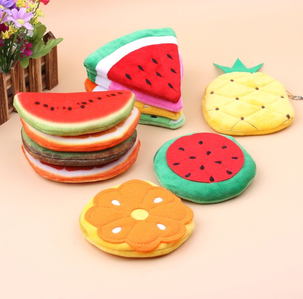 Cute watermelon orange pineapple fruit cartoon plush coin purse student lady key business card bag BG221