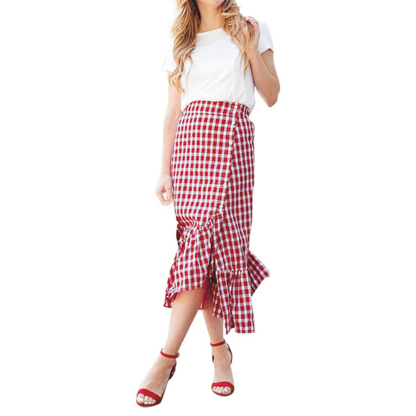 2019 sommer neue heiße verkauf weibliche modelle Frauen Plaid Lässig Gekräuselte Weibliche Taste Party Slit Hohe Taille Wadenrock