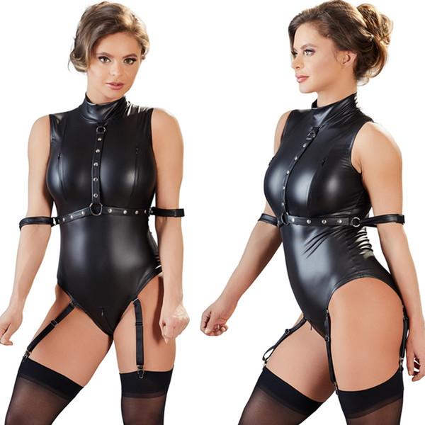 Venda quente Sexy Lingerie Mulheres Bodysuit Plus Size PU Látex Zíper Virilha Aberta Macacão Busto Aberto Clube desgaste Pole Dance mulheres