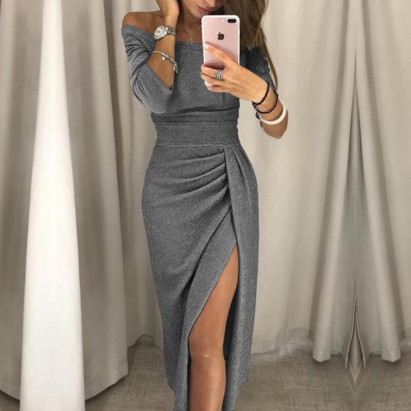 679a7b22a8 Womens Off Shoulder Party Dress Women Fashion 2018 High Slit Peplum Dresses  Autumn Elegant Women'S Bodycon Dress Vestido Y19021409 Teens Party Dresses  ...