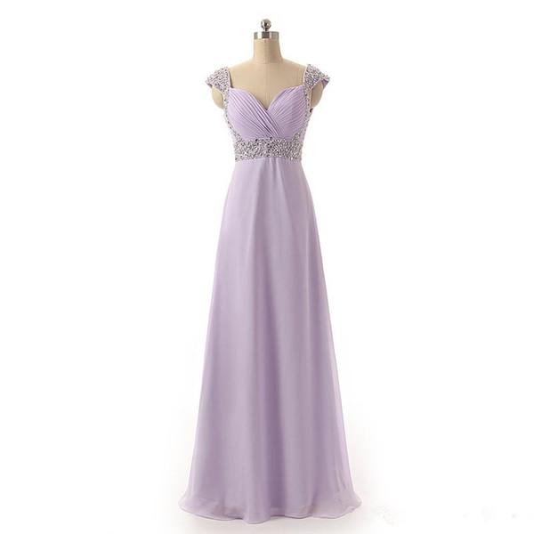 Perles De Mousseline De Soie Longues Robes De Bal Avec Des Mancherons Abendkleider Party 2019 Lavender Violet Noir Robe De Soirée Formelle Robe