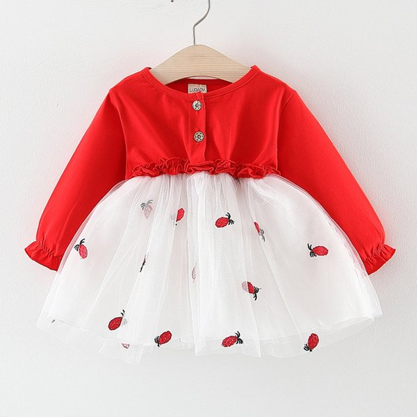 SAGACE 2019 New babys Dress Toddler Girls Patchwork Tulle Princess Dress Bambini Manica lunga Abiti ricamati Abiti Jly23