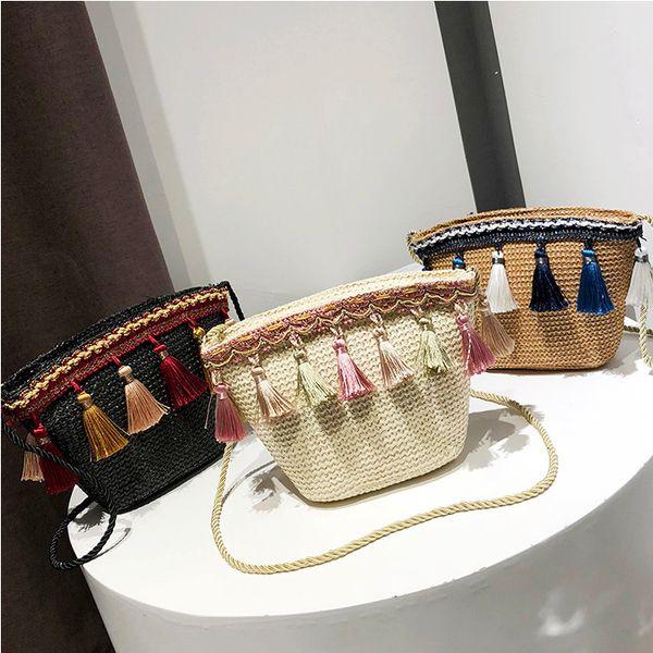 best selling 3styles Weaving Tassel Shoulder Bag Handbag Vintage Messenger Bag Crossbody Bags for Women Beach party Bag FFA1904