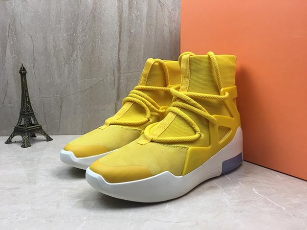 2019 Fear of God 1 in Yellow Men Women Designer Outdoor Sports Shoes ZOOM Grey High Quality Mens Athletic Trainer size 5.5-11