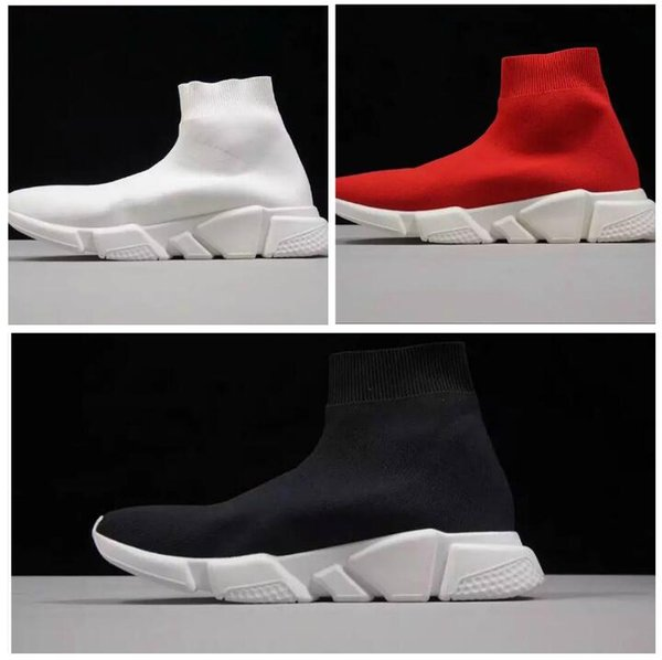 Best Level New Fashion Men and Women Designer Shoes Paris Famous luxury Speed Trainer with white texture sole Top Quality Sneakers Men Sock