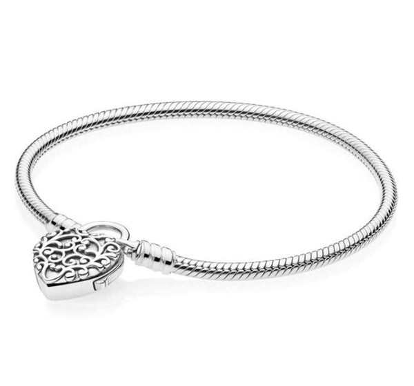 Newest 925 Sterling Silver Original Limited Edition Flourishing Heart Padlock Pan Bangle & Bracelet Charm Jewelry