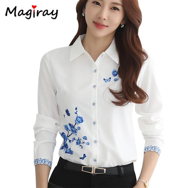 Magiray Uzun Kollu Mavi Çiçek Baskı Kadınlar 2019 Yaz En Zarif Çalışma Ofisi Artı Boyutu Boy Gömlek Beyaz Bluz C181 S19713 S19713
