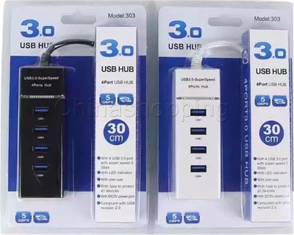 4 ports USB HUB Adaptateur USB 3.0 Super Speed pour PC Ordinateur Portable Souris Clavier Disques externes Utiliser USB HUB