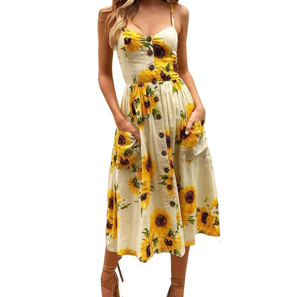Sexy V Neck Backless Floral Summer Beach Dress Women Boho Button Party Midi Party Sundress Print Dress Women Dresses Vestidos Y19012201