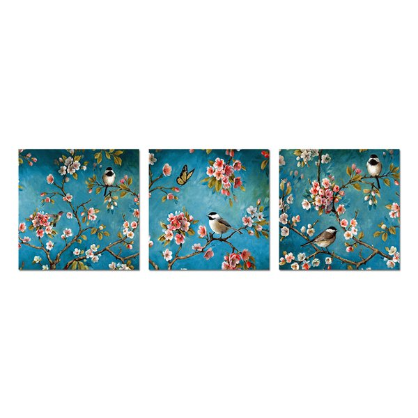 Unframed Canvas Poster Art Print Bird and Flower Painting Canvas Wall Art Blooming Tree Modern Home Wall Decor Picture