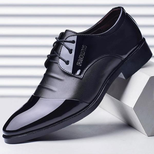 Novo Bonito Dos Homens de Negócios Vestido Sapatos Tamanho Grande 38-48 Bom Lace-up Dedo Apontado Suave Duro-Desgaste e Anti-slip Sapatos Masculinos