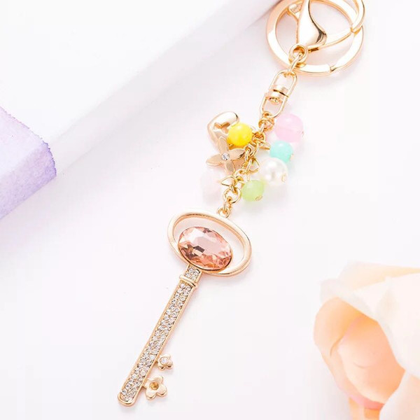 New Fashion Cute Key Pendant Colored Ball Rhinestone Keyring Car Keychain Key Chains Female Bags Bag Charm Lovers' Gift