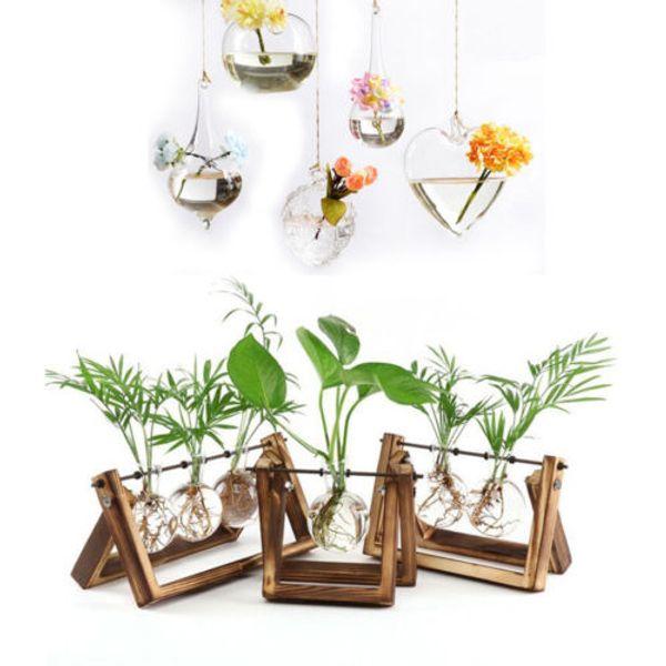 Creative Stand En Bois En Verre Terrarium Conteneur Hydroponique Planteur Pot De Fleur De Table Vase DIY Home Office De Mariage Décor