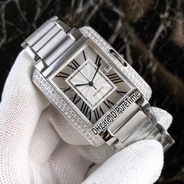 En iyi Baskı W5310008 Elmas Çerçeve Gümüş Arama Tarihi Japonya Miyota 8215 Otomatik Mens Watch Paslanmaz Çelik Cam Geri Spor Saatler CA47a1